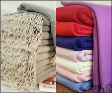 New Luxurious Pure Cashmere Blankets Throws with Fringe Hand Woven