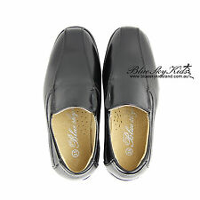 NEW Kids Boys formal Shoes Slip On Narrow Fit BLACK SZ 8-13 Approx 3-10Yr