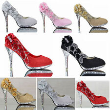 Womens High Bling Heel Floral Wedding Bridal Pumps Shoes Party Dating Dress Size