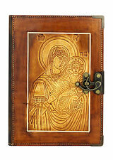 Embossed Baby Jesus Refillable Leather Journal/Diary/Brown Notebook Handmade
