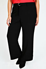 Plus Black Crepe Wide Leg Trousers With Silver Ring Belt   Size 14-36