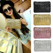 Women Clutch Bag Dazzling Handbag Sequins Glitter Sparkling Evening Party 8D6J