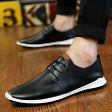 Mens Casual Genuine Leather Oxfords Lace Up Loafers Moccasin Driving Shoes Size