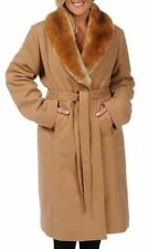 NEW Excelled Misses' Faux Wool Coat with Detachable Collar-Camel- Size Medium