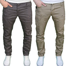 Eto Mens Designer Regular Fit Tapered Leg Twill Chino Jeans, Grey/Taupe. BNWT