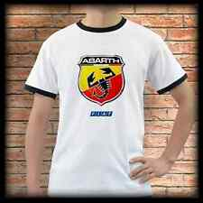 New ABARTH FIAT White Ringer T-Shirt Tee Shirt