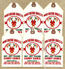 Hang Tags  PRIMITIVE CANDY CANES CHRISTMAS FEEDSACK TAGS #1226  Gift Tags