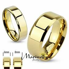 14k Gold Ion Plated Stainless Steel Beveled Edge Flat Wedding Band Ring sz 5-14