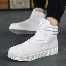 Mens Fashion New Leather Loafers Casual High Top Sneakers Ankle Boots Shoes Size