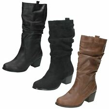 Ladies Spot On High Heel Calf Boots / Rouched Upper / Side Zip