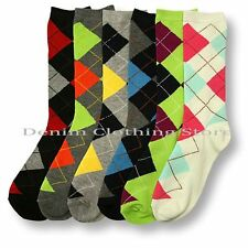 6~24 Women's Plaid Crew Socks Diamond Argyle Christmas Girl Wholesale Lot 9-11