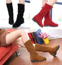 Womens Boots Mid-Calf Flat Slouch Stylish Shoes Faux Suede Comfort Fashion B8FQ