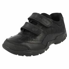 Boys Clarks Shoes Style-Nano Flash Black leather E/F/G/H Width Fittings