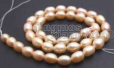 "SALE small 6-7mm high quality pink Freshwater rice pearl Loose Beads 14""-lo406"