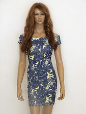 New womens charcoal grey and yellow leaf off shoulder bodycon dress size 12