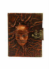 Embossed Scarfed Woman Brown Leather Journal / Diary / Lock/ Notebook / Notepad