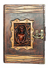 Sexy Woman Refillable Leather Journal / Diary / Lock / Brown Notebook Handmade