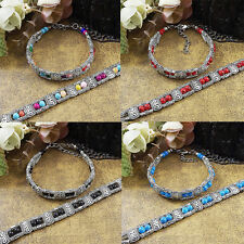 Tibetan Silver Jewelry Turquoise Chain Bracelet Colorful New More Rows  Beads