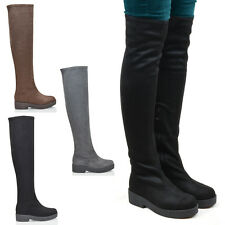 WOMENS THIGH HIGH BLOCK HEEL LADIES CHUNKY SOLE ZIP STRETCH OVER THE KNEE BOOTS