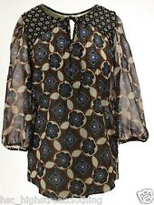 M&S Womens Ladies Navy Printed 3/4 Sleeve with Neck Tie Smart Casual Blouse Top
