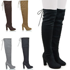 NEW WOMENS THIGH HIGH BOOTS LADIES OVER THE KNEE STRETCH EVENING BLOCK MID HEEL