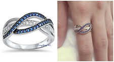 Sterling Silver 925 SEMI INFINITY KNOT DESIGN CZ PROMISE RING 10MM SIZES 5-12