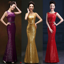 Beaded Sequins Sash Bridesmaid Evening Dress Formal Prom Party Pageant Ball Gown