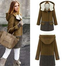 Ladies Warm Thicken Wool Blend Hooded Long Jacket Trench Coats Slim Outwears new