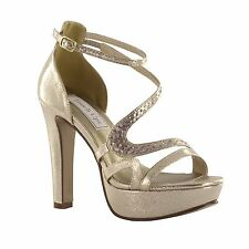 Breeze by Touch Ups Champagne Gold Platform Heel Bridal Bridesmaid Prom Shoes