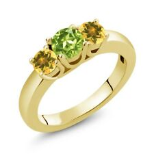 1.02 Ct Round Green Peridot Yellow Citrine 18K Yellow Gold Ring