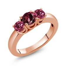 1.08 Ct Round Red Rhodolite Garnet Pink Tourmaline 18K Rose Gold Ring