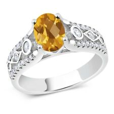 1.81 Ct Oval Checkerboard Yellow Citrine 925 Sterling Silver Ring