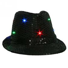 Hot Cool LED Flashing Sequins Light Up Fedora Jazz Cap Hat Dance Party Birthday