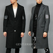 Men's Fashion Slim Fit Ribbed Leather Arm Button Up Wool Long Coat, GENTLERSHOP