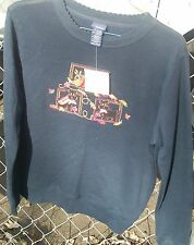 BNWT Embroidered Knit Top with Dog&Fall Designs by Basic Editions sz S