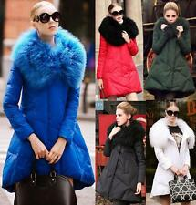 New Womens Winter Long Jacket Luxury Fur Collar Thick Warm Duck Down Parka Coat