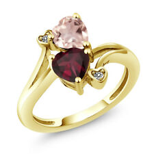 1.45 Ct Heart Shape Red Rhodolite Garnet Rose Rose Quartz 14K Yellow Gold Ring