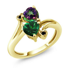 1.66 Ct Green Simulated Emerald Mystic Topaz 18K Yellow Gold Plated Silver Ring