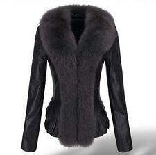 100% Real Genuine Sheep Leather Jacket Coat Fox Fur Collar Outwear Lady Vintage