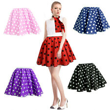17'' POLKA DOT ROCK AND ROLL 50s SKIRT & SCARF FANCY DRESS COSTUME HEN PARTY