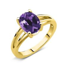 1.66 Ct Oval Purple Amethyst 14K Yellow Gold Solitaire Ring
