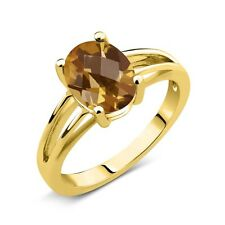 1.40 Ct Oval Checkerboard Champagne Quartz 14K Yellow Gold Solitaire Ring