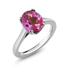 3.63 Ct Oval Pink Mystic Topaz White Created Sapphire 925 Sterling Silver Ring