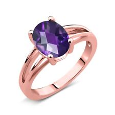 1.50 Ct Oval Checkerboard Purple Amethyst 18K Rose Gold Plated Silver Ring