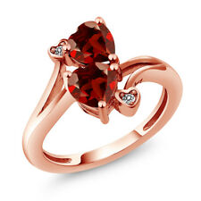 1.83 Ct Heart Shape Red Garnet 18K Rose Gold Plated Silver Ring