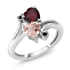 1.45 Ct Heart Shape Rose Rose Quartz Red Rhodolite Garnet 925 Silver Ring