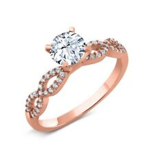 1.70 Ct Round Hearts And Arrows White Created Sapphire 14K Rose Gold Ring