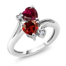 1.89 Ct Heart Shape Red Garnet Red Created Ruby 14K White Gold Ring