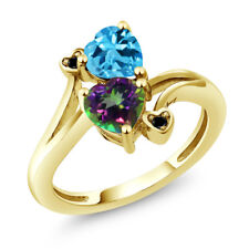 1.93 Ct Green Mystic Topaz Swiss Blue Topaz 18K Yellow Gold Plated Silver Ring