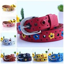 Child Kids Students Floral Design Candy Color Boys Girls Waistband Belts U21